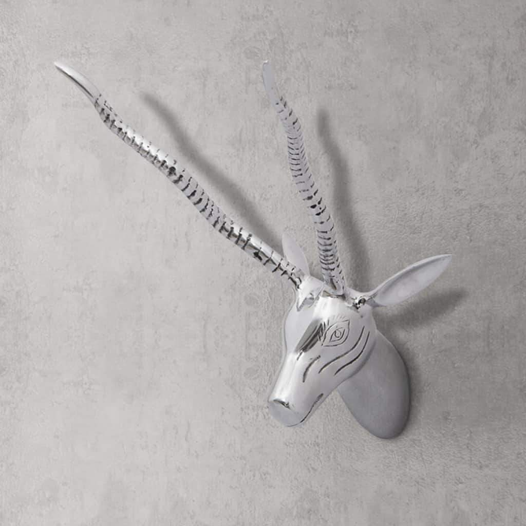 Wall Mounted Gazelle's Head Decoration Aluminium Silver 33 cm 242341 Kings Warehouse