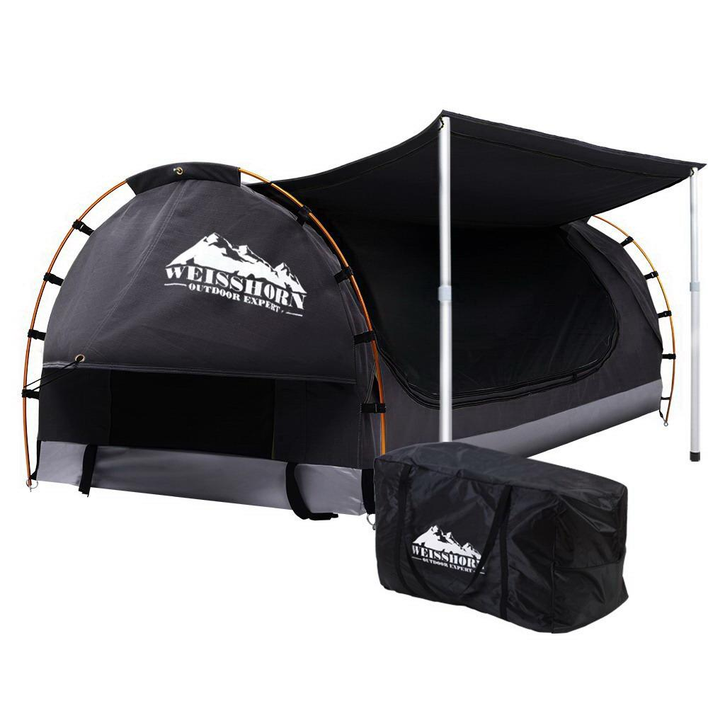 Weisshorn Double Swag Camping Swags Canvas Free Standing Dome Tent Dark Grey Outdoor Kings Warehouse