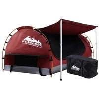 Weisshorn Double Swag Camping Swags Canvas Free Standing Dome Tent Red with 7CM Mattress Outdoor Kings Warehouse