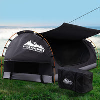 Weisshorn Swag King Single Camping Swags Canvas Free Standing Dome Tent Dark Grey with 7CM Mattress Outdoor Kings Warehouse