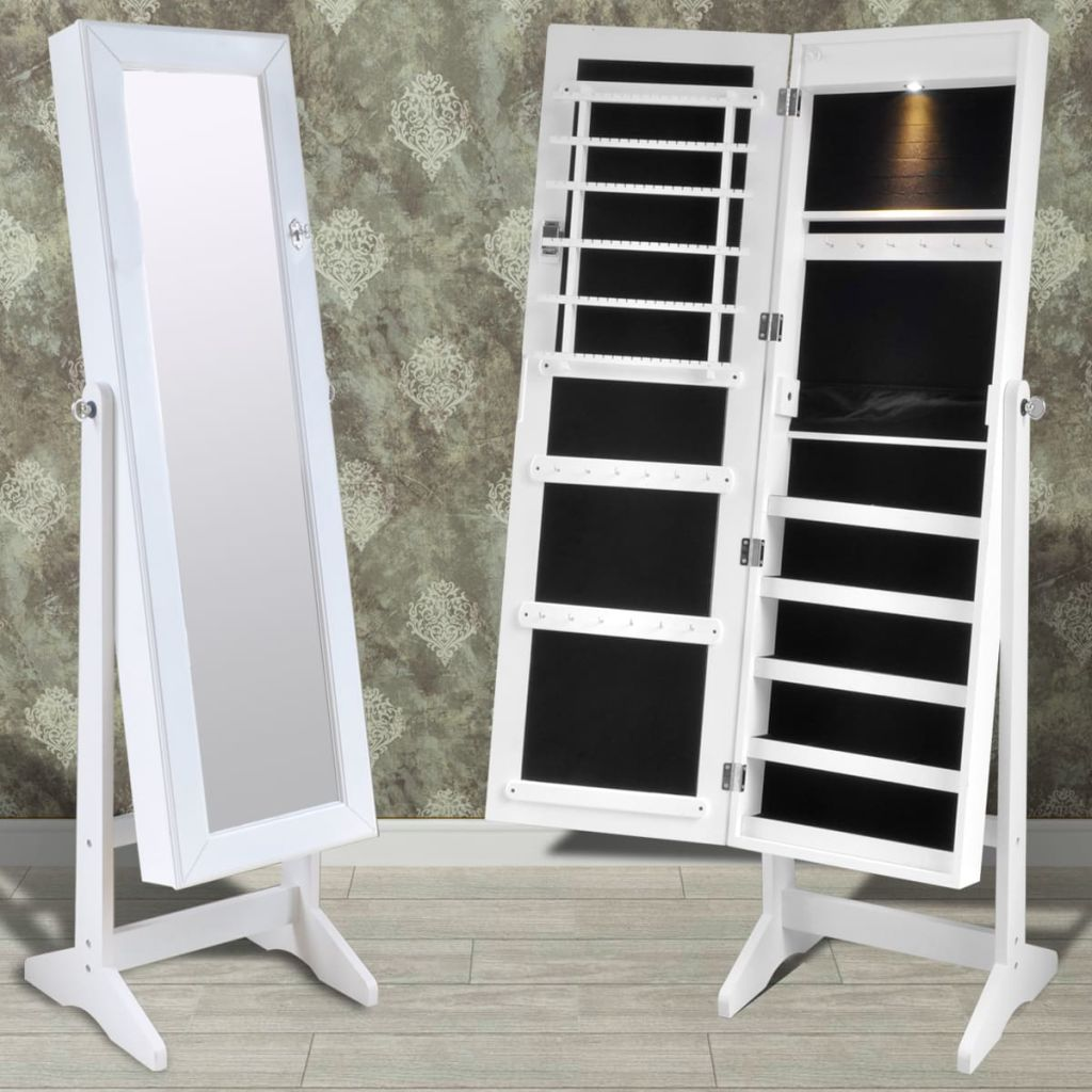 White Free Standing Jewellery Cabinet with LED Light and Mirror Door Kings Warehouse