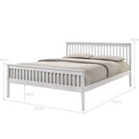 Wooden Bed Frame White - Queen Kings Warehouse