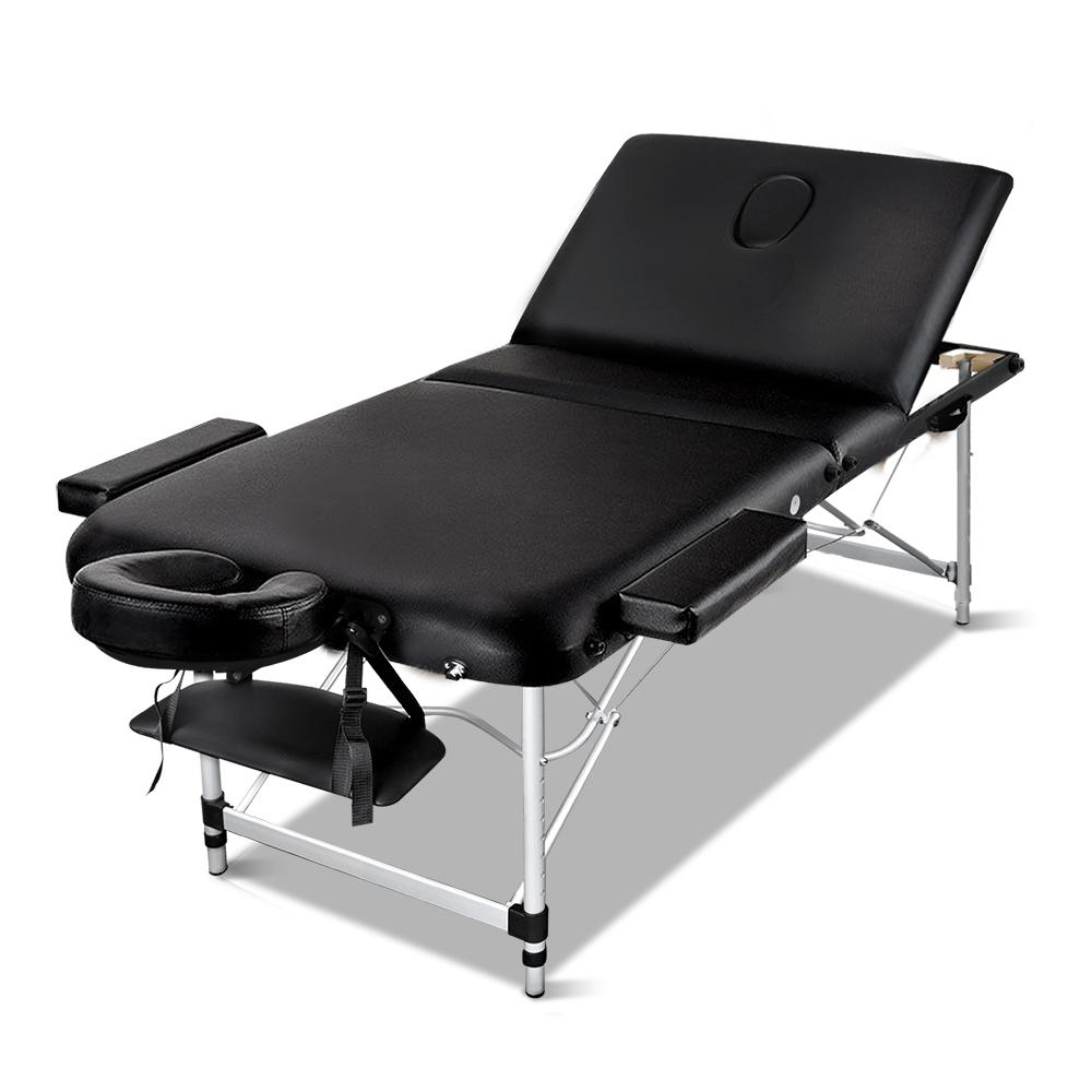 Zenses 70cm Wide Portable Aluminium Massage Table 3 Fold Treatment Beauty Therapy Black Kings Warehouse
