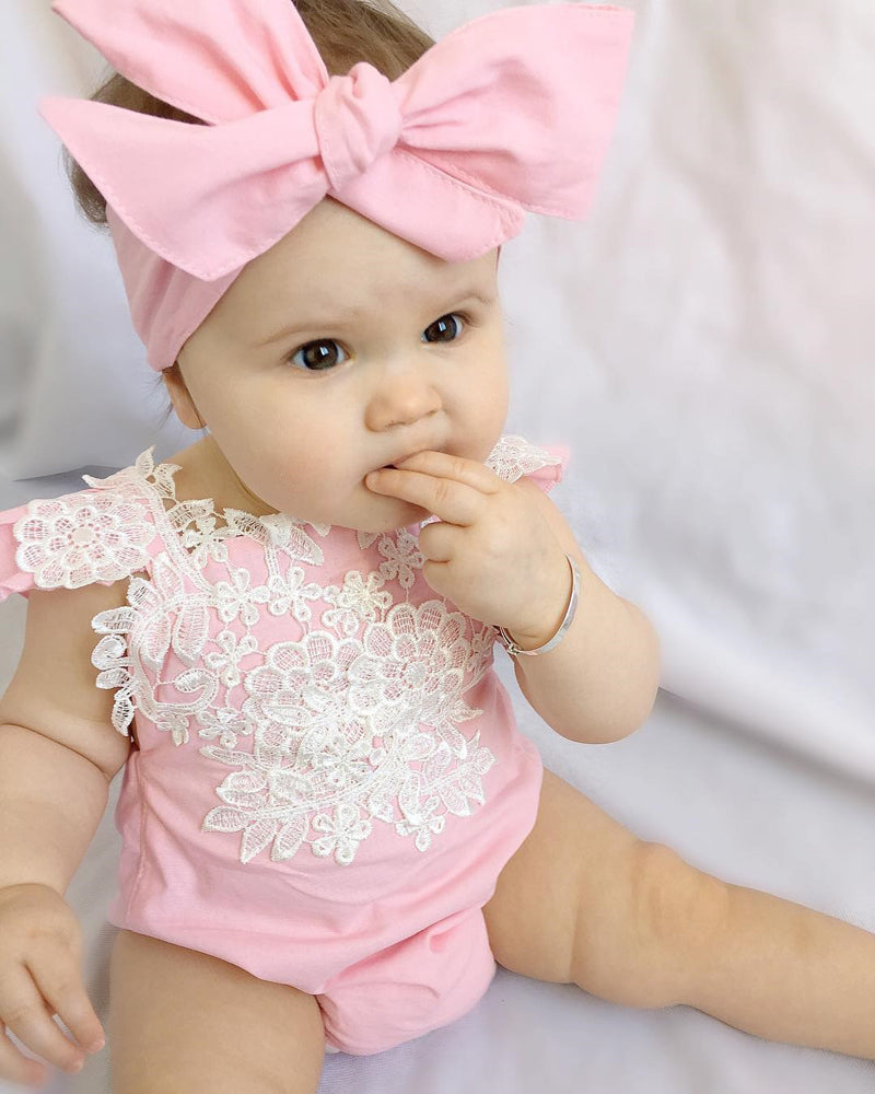 Girls Lace Floral Jumpsuit + Headband