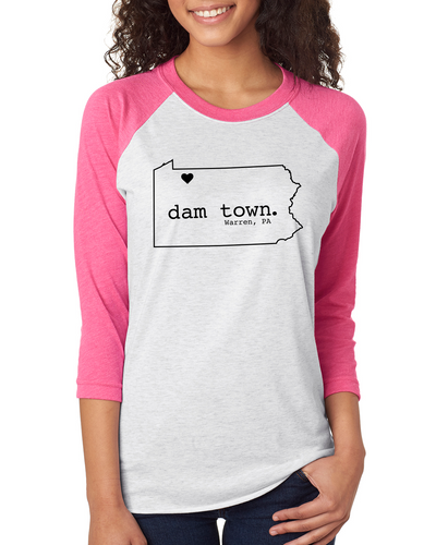 Dam Town - State Outline - Baseball Tee - Warren, PA