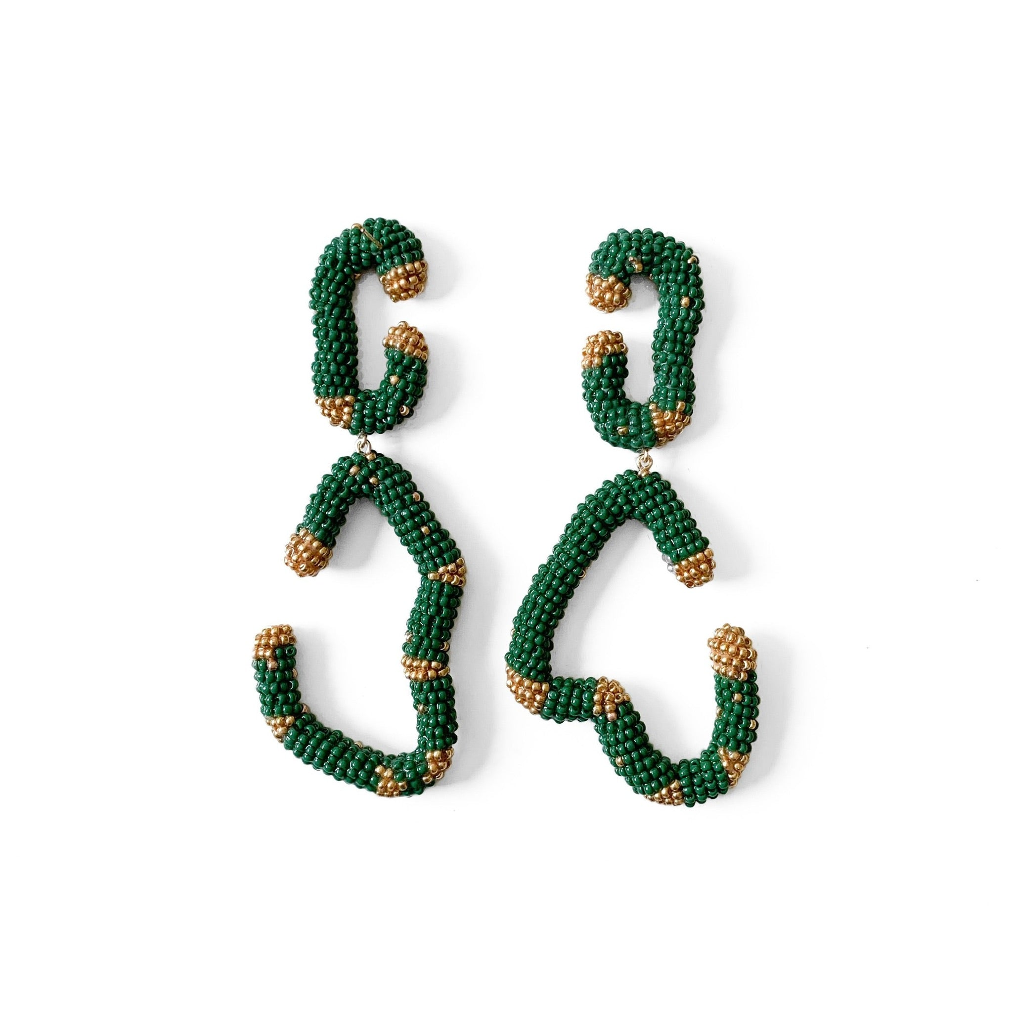 HANDMADE BEADED EARRINGS , Carolina herrera, oscar de la renta, asymmetric earrings , statement earrings , maxi earrings