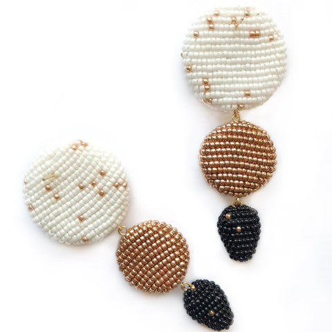 ETRA EARRINGS White/Golden/Black