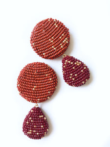 YAROMA EARRINGS Terracotta/Wine