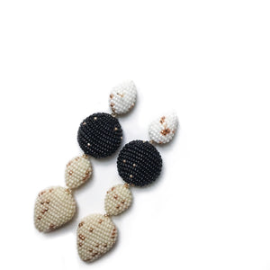 ALEMOR EARRINGS White/Black/Beige