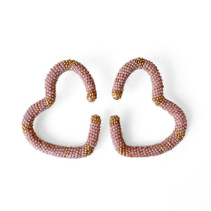 HANDMADE BEADED EARRINGS , Carolina herrera, oscar de la renta, hoops , heart earrings , maxi earrings