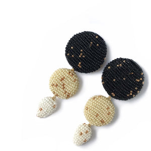 ETRA EARRINGS Black/Beige/White