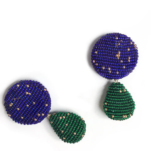 YAROMA EARRINGS Royal Blue/Green