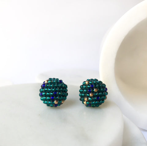 MORE EARRINGS Green Blue