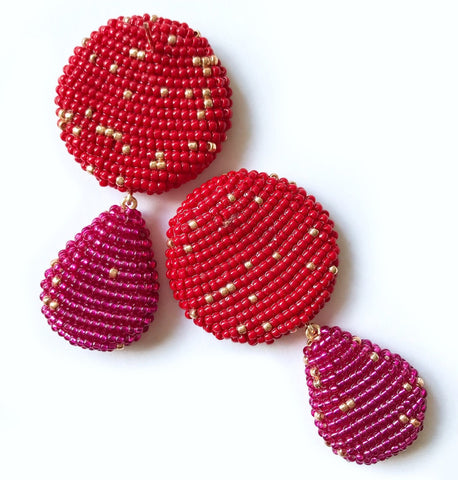 YAROMA EARRINGS Red/Fuchsia