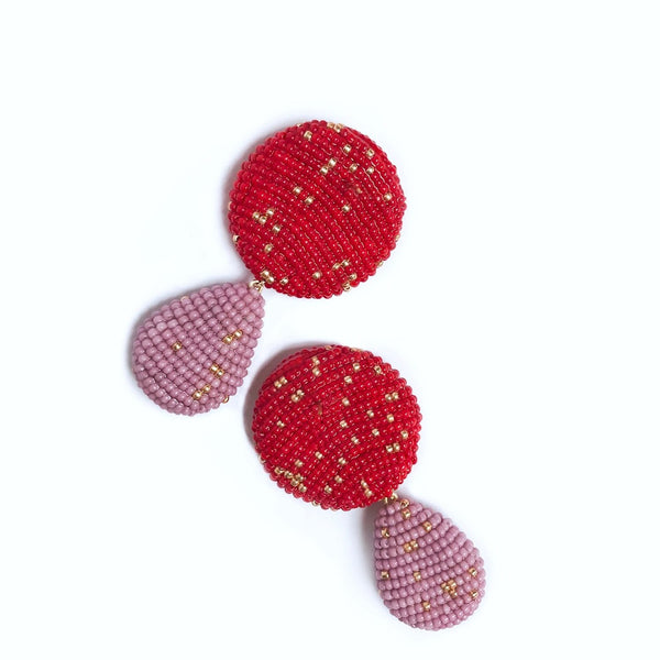 YAROMA EARRINGS Red/Lilac