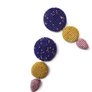 ETRA EARRINGS Royal blue/Mustard/Lilac