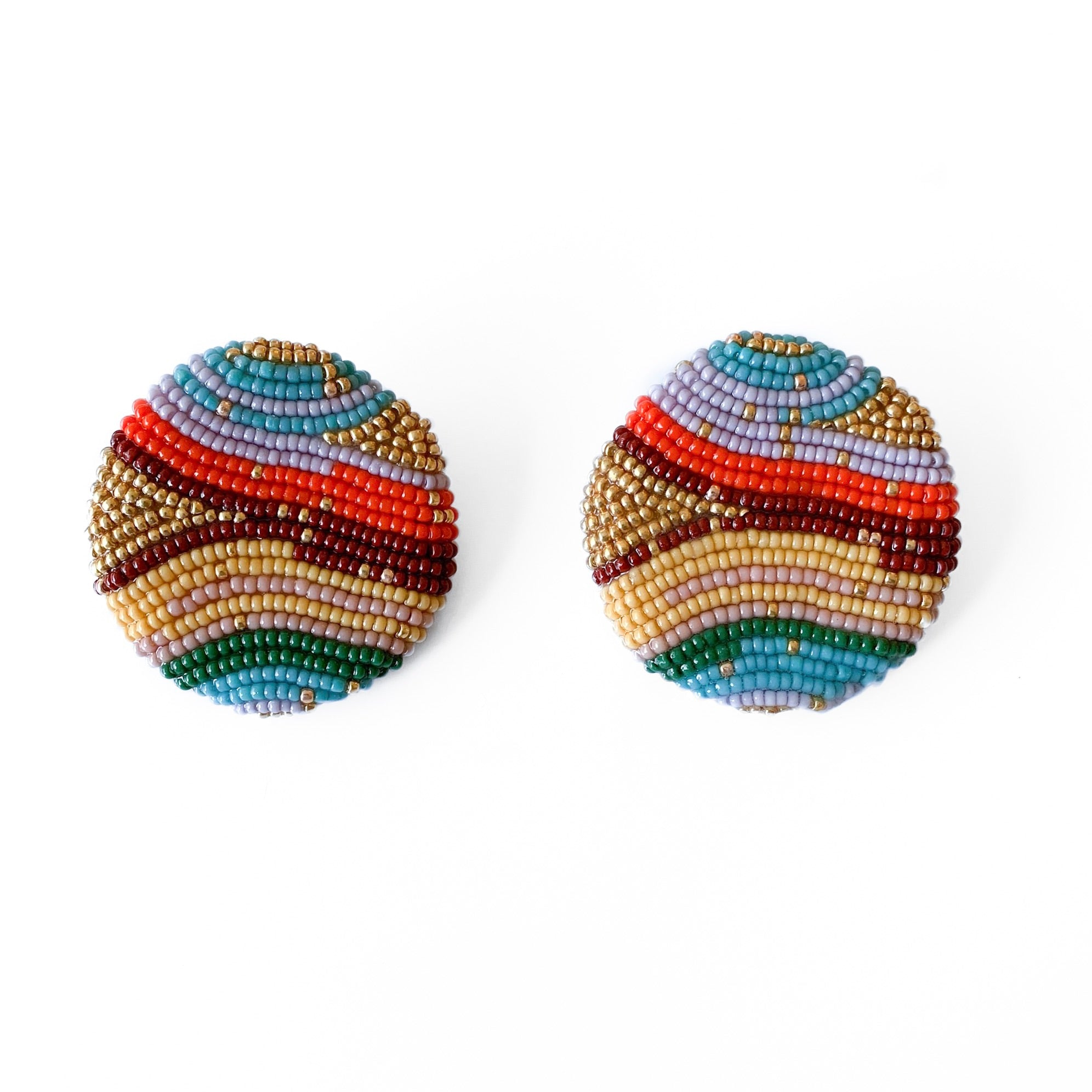 HANDMADE BEADED EARRINGS , Carolina herrera, oscar de la renta,  , maxi earrings, multicolor