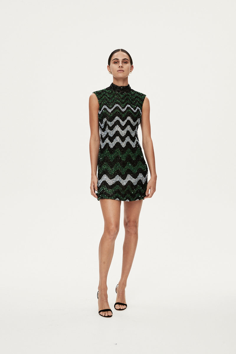 CALLUM DRESS - GREEN MULTI