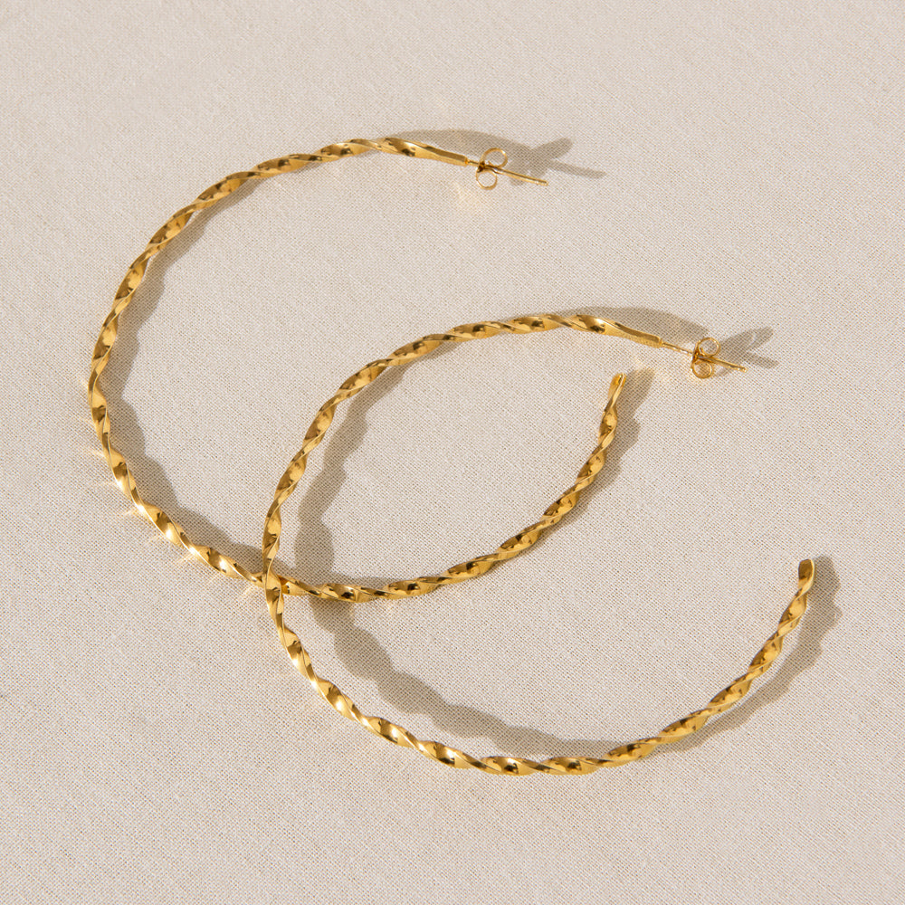 Large Twisted Hoops - Gold-JEWELLERY-Rachel Gilbert