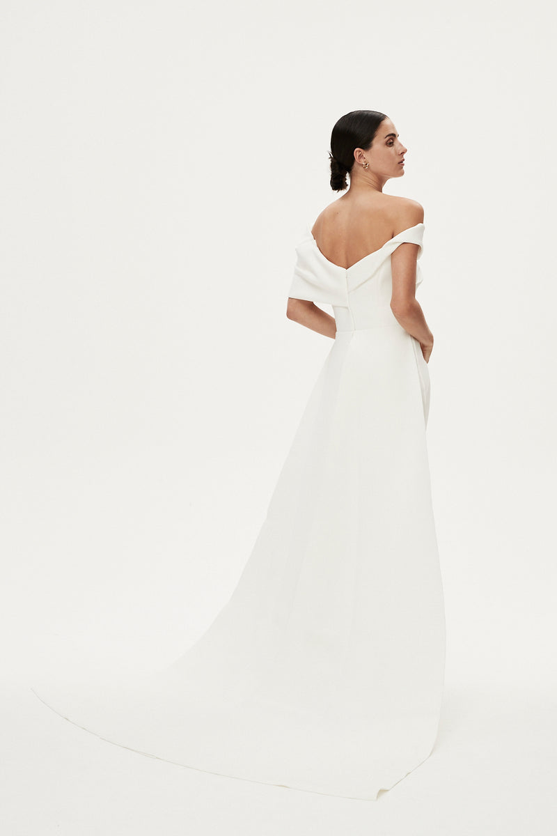 MATTEO GOWN WITH CAPE - IVORY