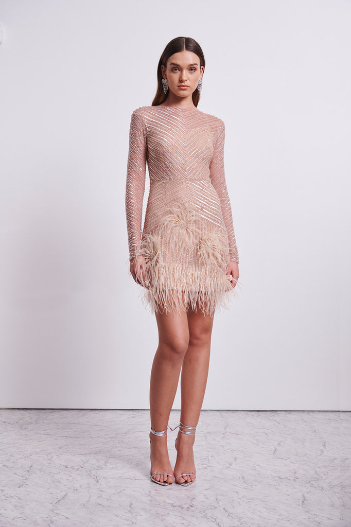 PETUNIA LONG SLEEVE DRESS - BLUSH-DRESS-Rachel Gilbert