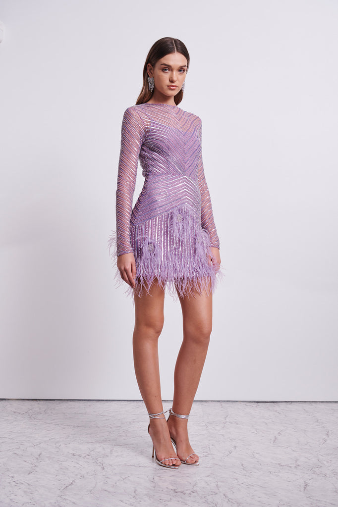 PETUNIA LONG SLEEVE DRESS - LILAC-DRESS-Rachel Gilbert