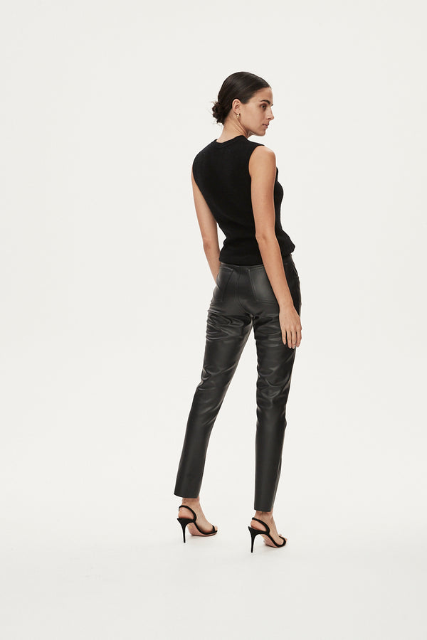 TIMMI FAUX LEATHER PANT - BLACK