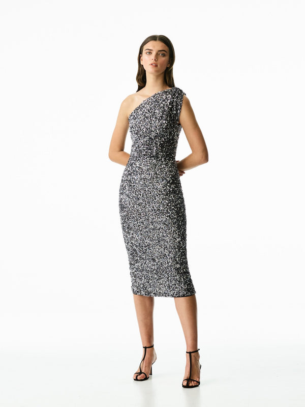 REED DRESS - GUNMETAL