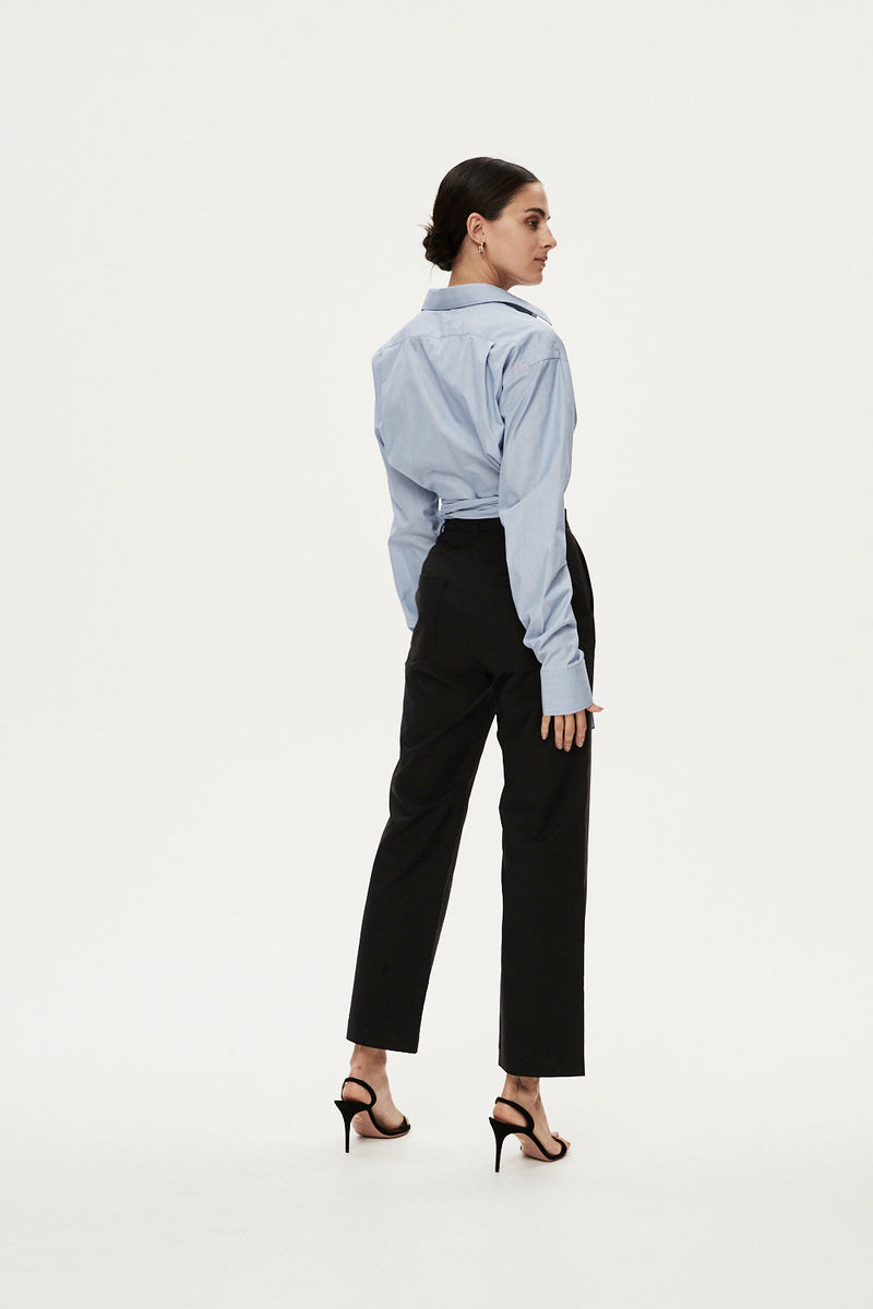 BENEDICT CROP SHIRT - DUCK EGG BLUE