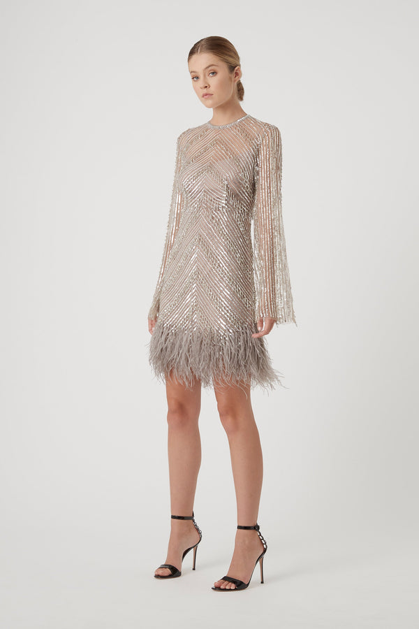 EUGENIE MINI DRESS - SILVER