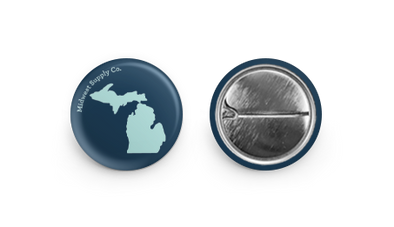 Michigan Navy and Aqua Blue Button