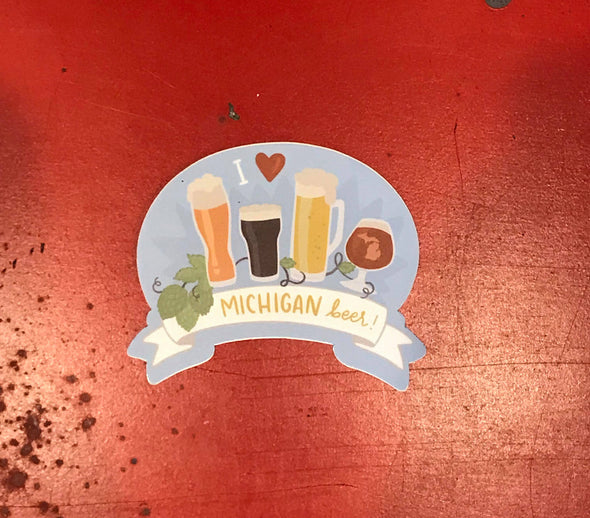 I Heart Michigan Beer Sticker