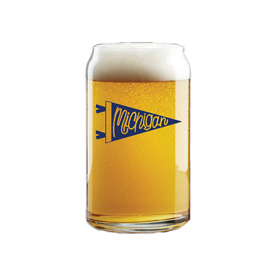 Michigan Pennant Beer Can Pint Glass