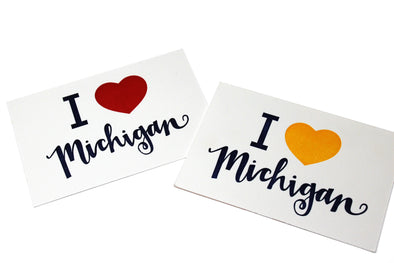 I Heart Michigan Letterpress Postcard