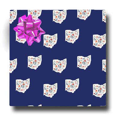 Ohio Floral Blue Wrapping Paper
