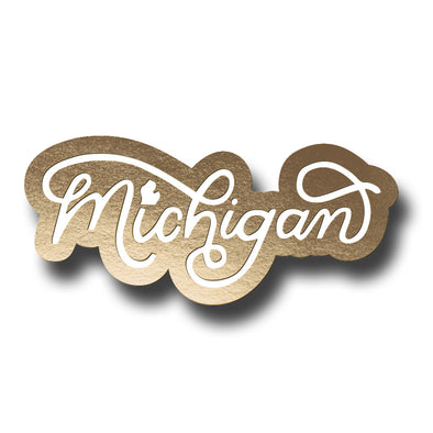 Michigan Script Enamel Pin