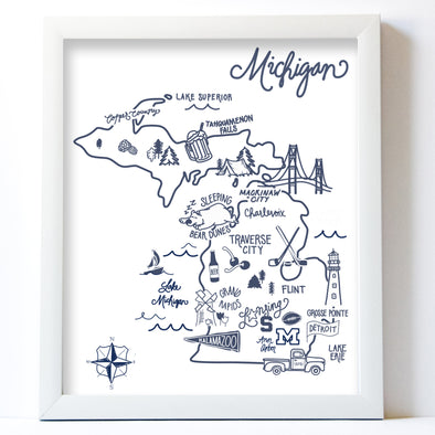 Navy Illustrated Michigan Map