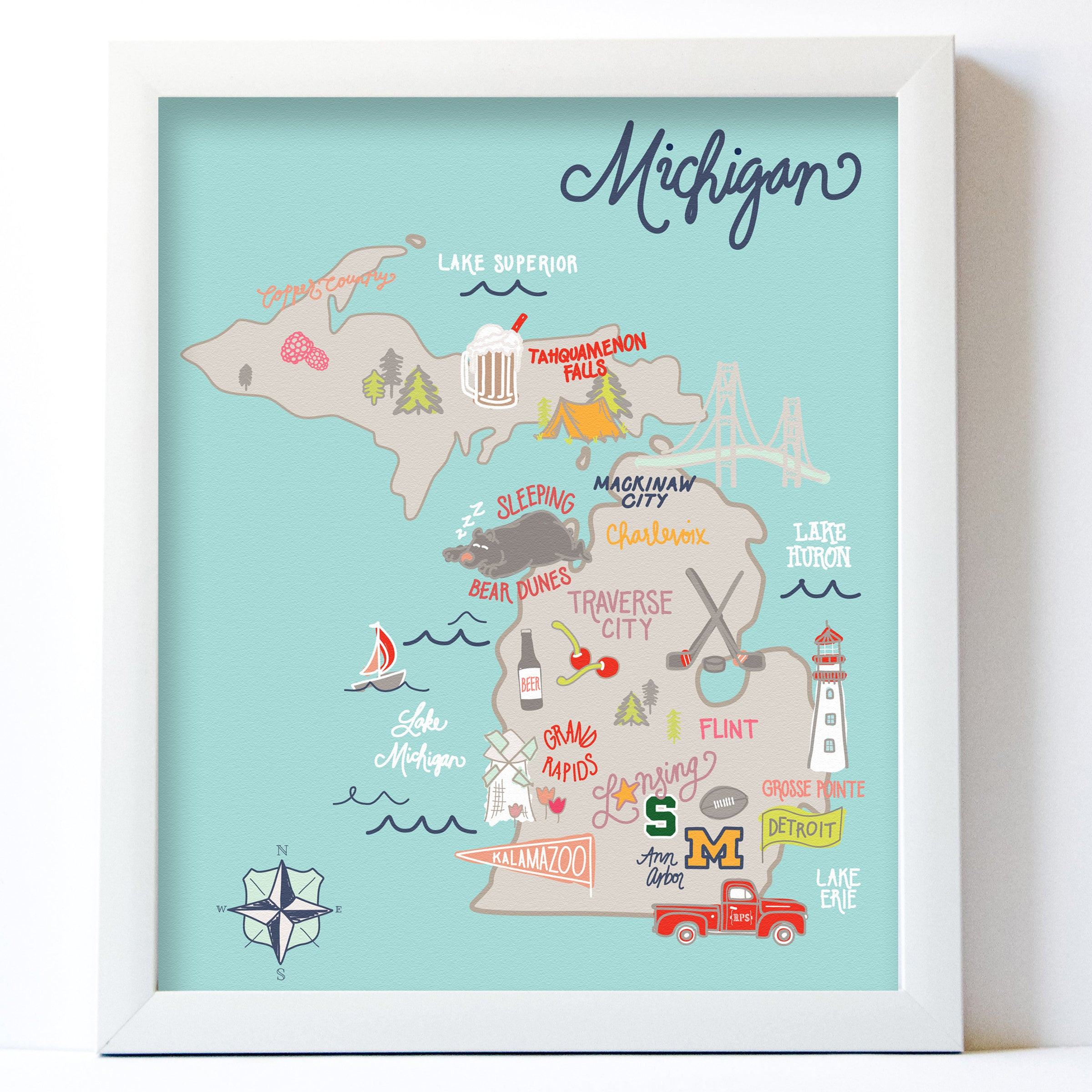 Bright Michigan Map Midwest Supply Co