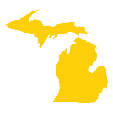 "Solid Color Die Cut Michigan 4"" Sticker"