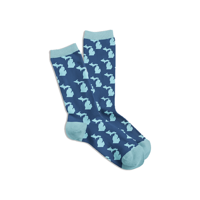 Navy & Aqua Michigan Socks