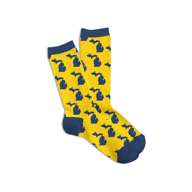 Navy & Yellow Michigan Socks