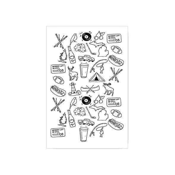 Michigan Icon Black & White Tea Towel