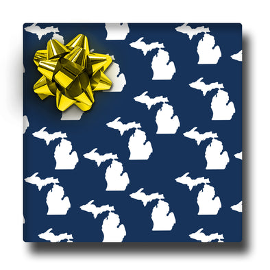 White & Navy Michigan Wrapping paper