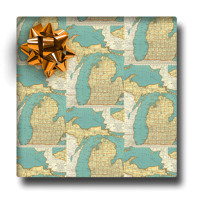 Aqua Map Pattern Wrapping Paper