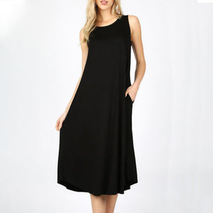 "Dress Sleevless 44"" w Pockets"