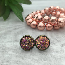 Druzy Earrings | Dome - Strawberry