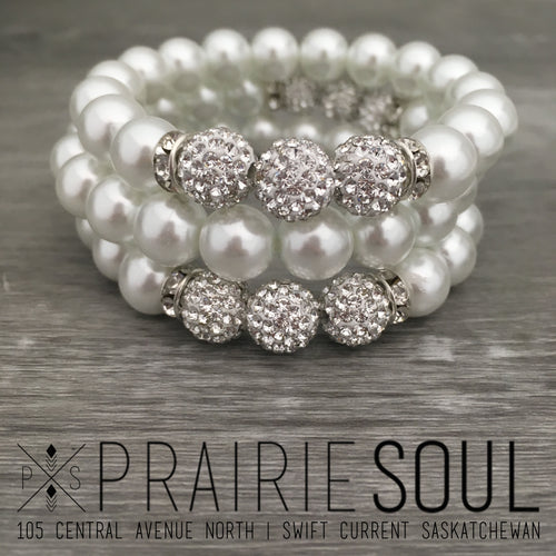 Pearl Stacker Bracelet | White