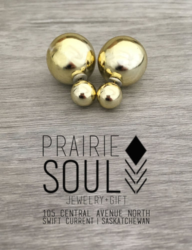 Double Sided Earrings | Metallic Gold