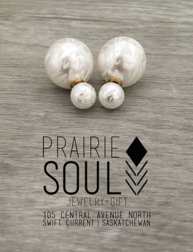 Double Sided Earrings | Pearl White Lace