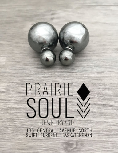 Double Sided Earrings | Metallic Gunmetal